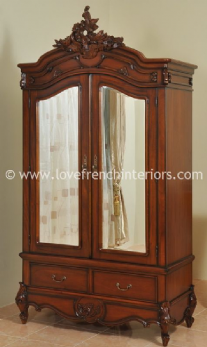 Louis Double Mirrored Armoire in Mahogany